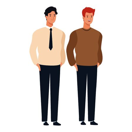 men avatar cartoon character  with fashion casual clothes and business suit vector illustration graphic design Ilustrace
