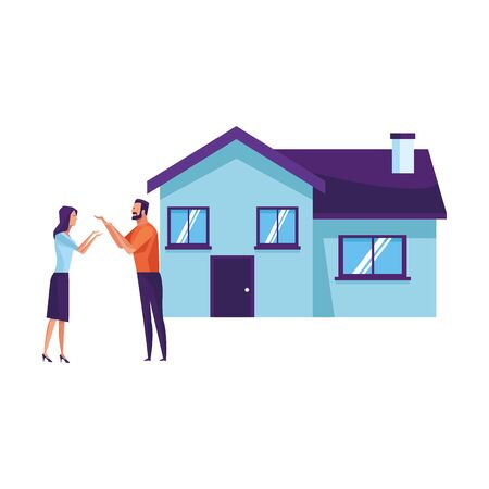 couple and house icon cartoon vector illustration graphic design Imagens - 124878197