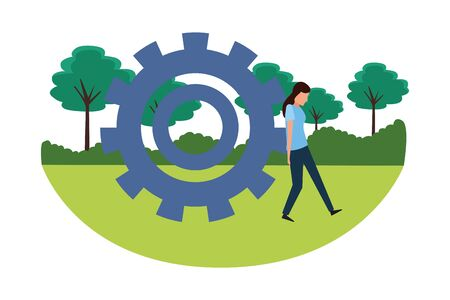 Big gear stopping gear cartoon in the park outdoors scenery vector illustration graphic design