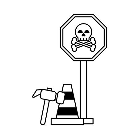 danger sign with tools icon cartoon vector illustration graphic design black and white