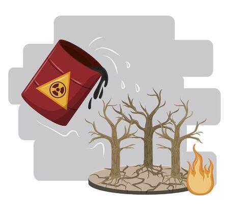 hazardous waste falling over dead trees icon cartoon vector illustration graphic design