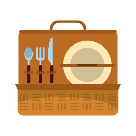 Picnic basket with dish and cutlery vector illustration graphic design  イラスト・ベクター素材