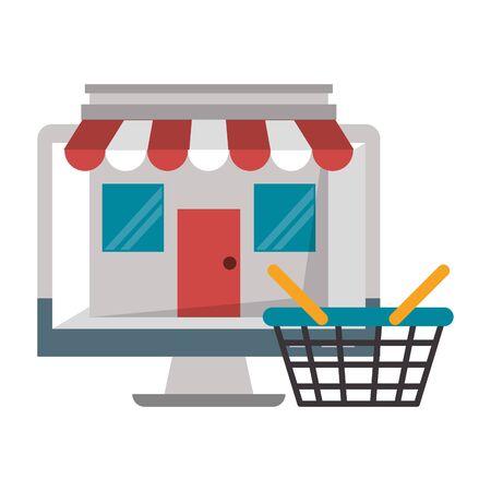 Computer screen internet browsing with storefront and market basket vector illustration graphic design Illustration