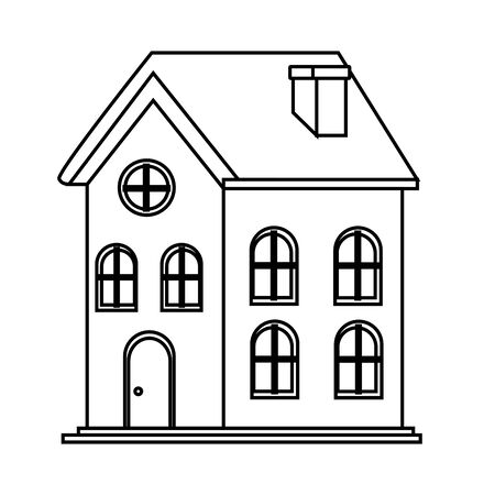 house icon isolated black and white vector illustration graphic design Imagens - 124878820