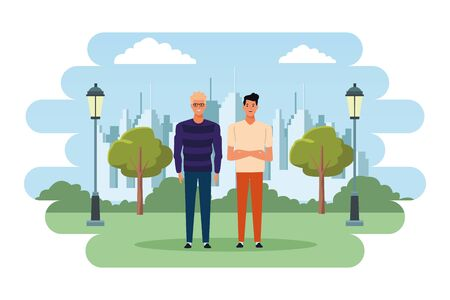 two men avatar cartoon character with fashion casual clothes in the city park scenery vector illustration graphic design Illustration