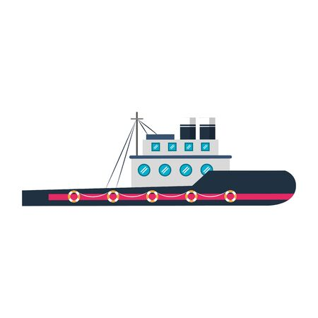 Fish ship boat sideview isolated cartoon vector illustration graphic design
