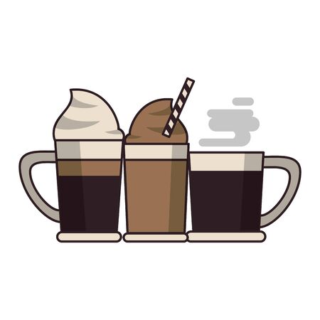 coffee cafe concept coffee shop elements hot drinks cartoon vector illustration graphic design Stock Vector - 124790929