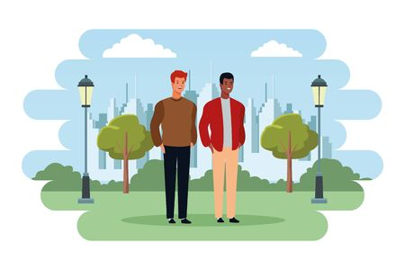 men avatar cartoon character  with fashion casual clothes in the city park scenery vector illustration graphic design