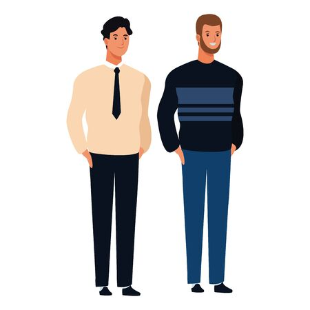 two men avatar cartoon character with fashion casual clothes and business suit