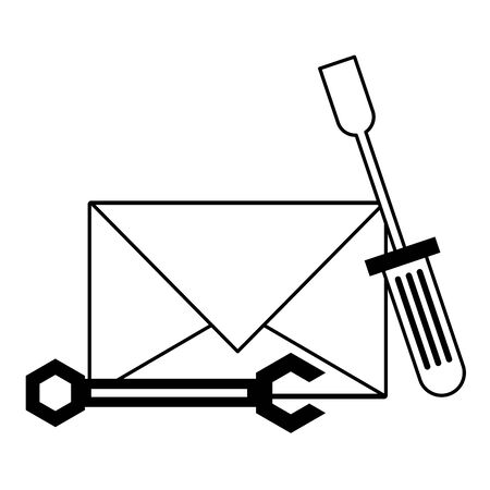 Email technical support screwdriver and wrench symbols isolated vector illustration graphic design Illustration