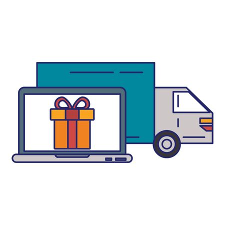 Delivery truck with a laptop and gift vector illustration graphic design Çizim