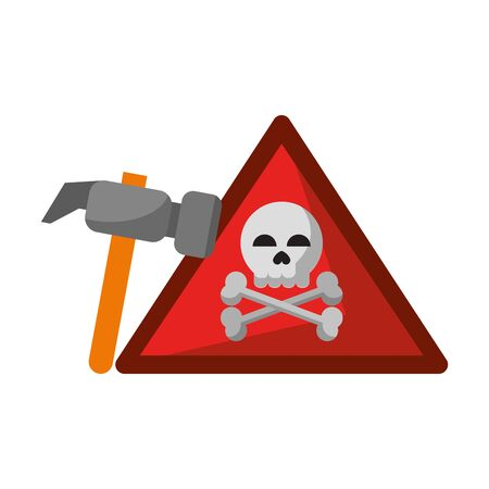 danger sign with tools icon cartoon vector illustration graphic design