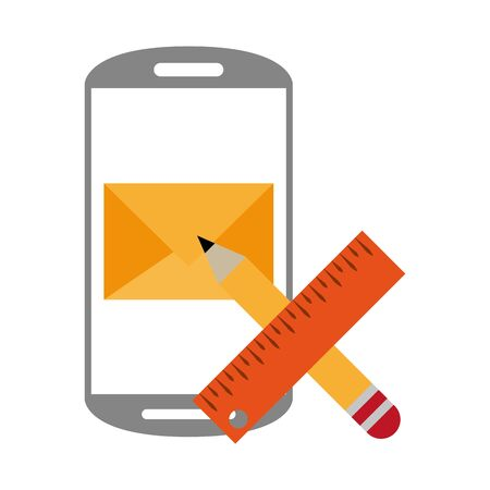 Smartphone email and pencil with ruler symbols vector illustration graphic design 일러스트