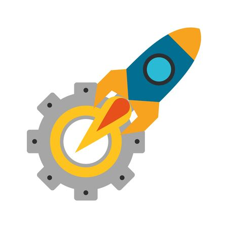 rocket taking off with gears support cartoon vector illustration graphic design