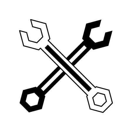 Wrenchs tools crossed symbol isolated vector illustration graphic design Çizim