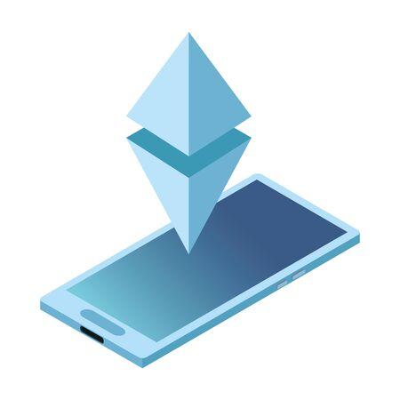 cellphone with geometric figure icon cartoon vector illustration graphic design