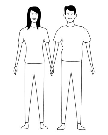Young boyfriend and girlfriend clasped hands cartoon vector illustration graphic design
