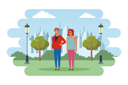 two woman avatar cartoon character with fashion casual clothes in the city park scenery vector illustration graphic design