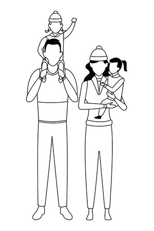 family avatar cartoon character couple and children wearing winter clothes black and white vector illustration graphic design