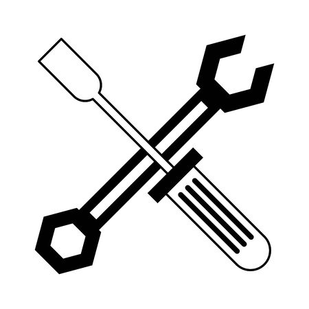 Wrench and scredriver crossed construction tools vector illustration graphic design