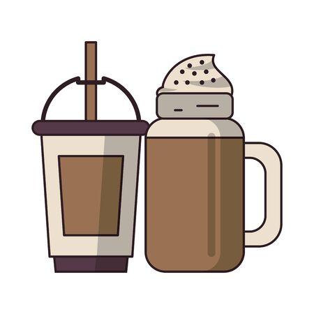 coffee cafe concept coffee shop elements ice drinks cartoon vector illustration graphic design Stok Fotoğraf - 124887285