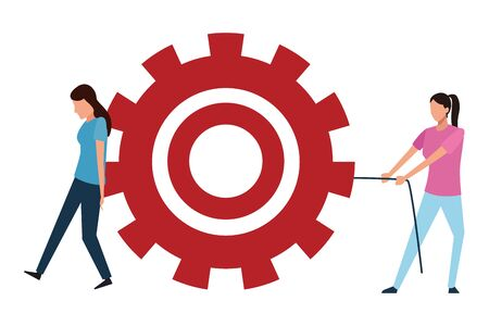 Coworkers women pushing big gear teamwork cartoon vector illustration graphic design