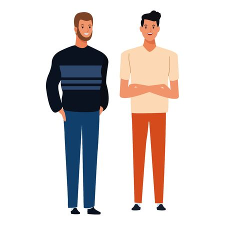 two men avatar cartoon character with fashion casual clothes vector illustration graphic design