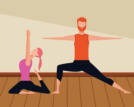 couple yoga poses avatars cartoon character with beard indoor wooden floor vector illustration graphic design