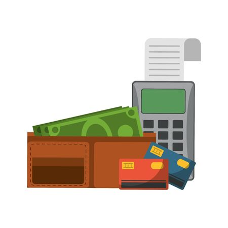 Shopping and sales wallet with money credit card and card reader symbols vector illustration graphic design