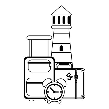 Vacations and travel luggage with clock and lighthouse vector illustration graphic design