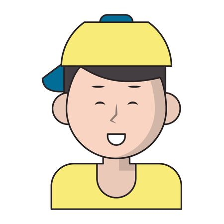 Young man smiling with hat cartoon vector illustration graphic design