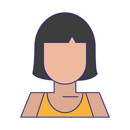 woman avatar cartoon character isolated portrait vector illustration graphic design Çizim