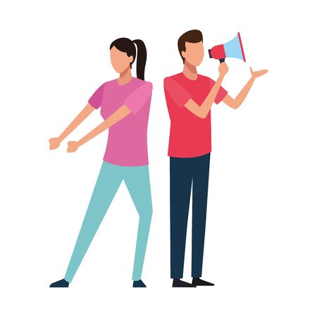 Coworkers woman pulling and man with bullhorn teamwork cartoon vector illustration graphic design