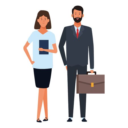 business couple avatar cartoon character with briefcase and documents folder vector illustration graphic design