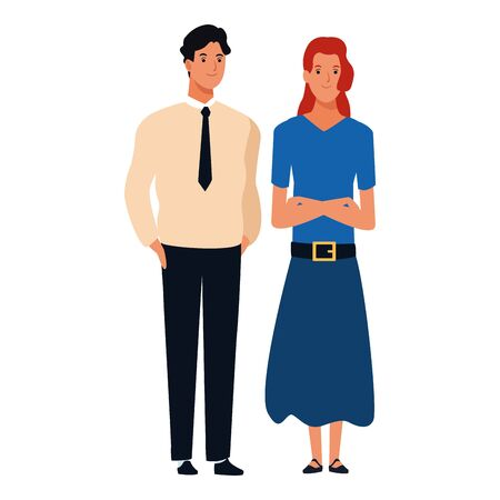 couple avatar cartoon character  with fashion casual clothes and business suit vector illustration graphic design