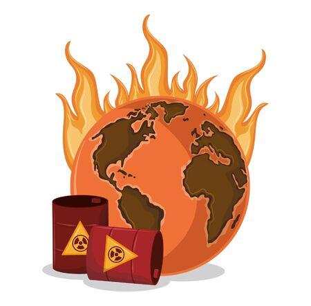desert globe on fire with hazardous waste icon cartoon vector illustration graphic design