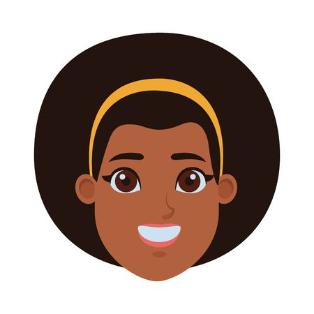 young afroamerican woman wearing bandana profile picture avatar cartoon character vector illustration graphic design