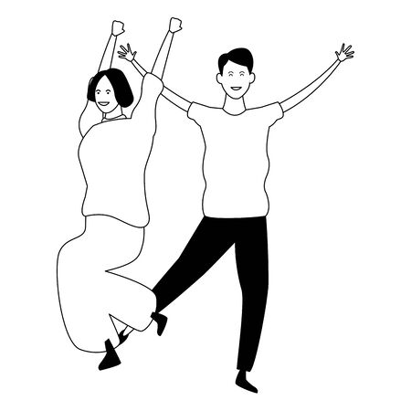 Happy couple having fun and dancing vector illustration graphic design