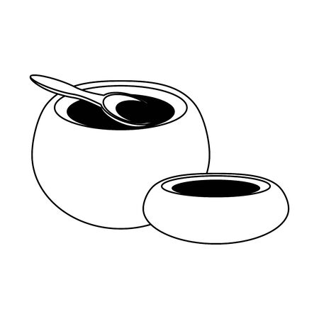 makgeolli korean beverage with spoon icon cartoon vector illustration graphic design Ilustrace