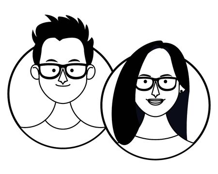 Young friends cartoons round icons vector illustration graphic design Çizim