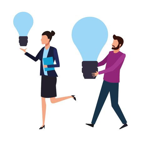 Coworkers businesswoman and man with big bulb lights teamwork cartoon vector illustration graphic design