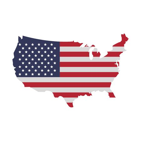 United states map outline with flag stars and stripes patriotic isolated vector illustration graphic desing 일러스트