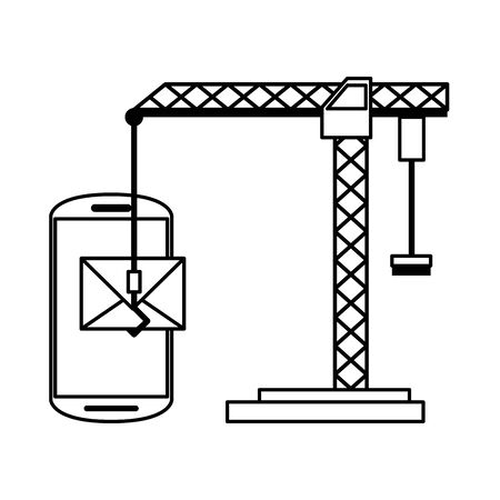 Smartphone technical support technology hook crane and email vector illustration graphic design