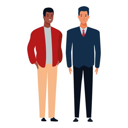 two men avatar cartoon character with fashion casual clothes and business suit vector illustration graphic design