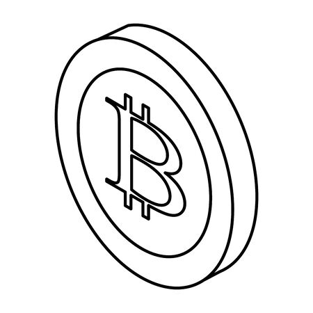 cryptocurrency coins icon cartoon bitcoin black and white vector illustration graphic design