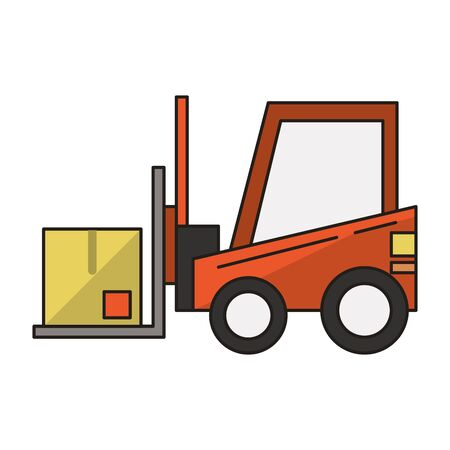 Forklift with box vehicle symbol vector illustration graphic design
