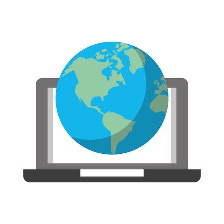 technology device lapton connect international world map cartoon vector illustration graphic design