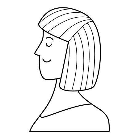 woman portrait avatar cartoon character with short hair black and white vector illustration graphic design