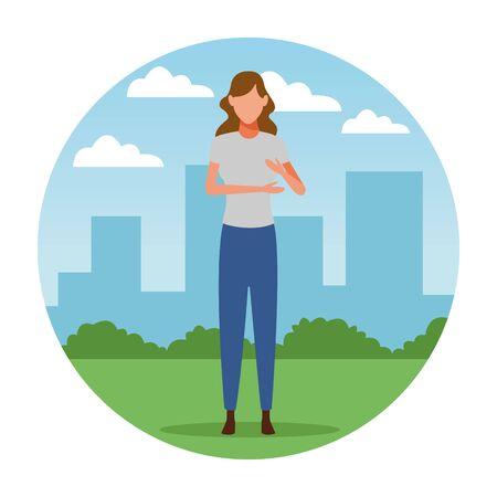 woman avatar cartoon character   at cityscape round icon vector illustration graphic design Foto de archivo - 124834261