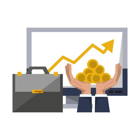 Invesment market business portafolio tendency data graph briefcase hands and coins vector illustration graphic design